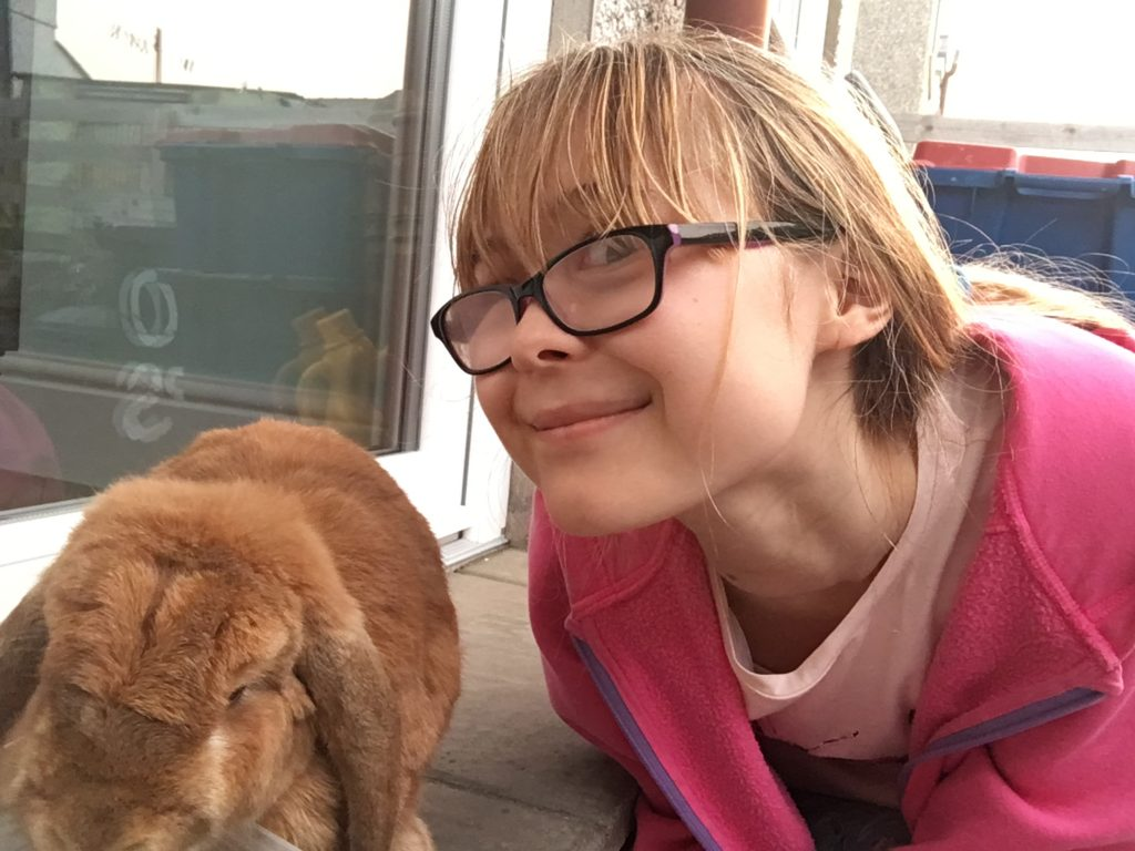 Picture of Angharad with her rabbit